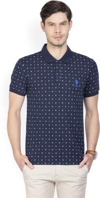 Peter England Printed Men Polo Neck Yellow, Light Blue T-Shirt