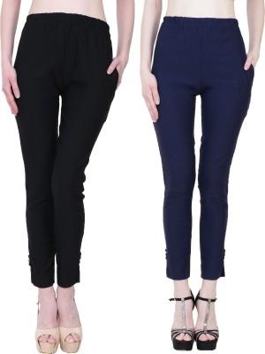 Manash Fashion Slim Fit Women Dark Blue, Beige Trousers