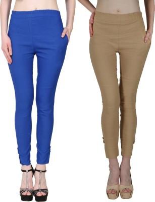 Manash Fashion Slim Fit Women Black, Dark Blue Trousers