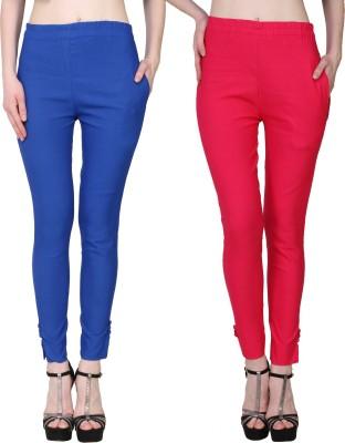 Manash Fashion Slim Fit Women Dark Blue, Pink Trousers