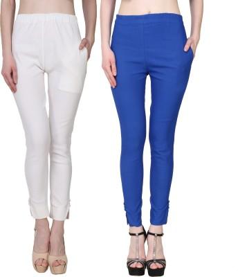 Manash Fashion Slim Fit Women White, Dark Blue Trousers