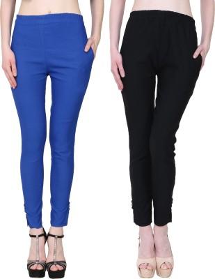 Manash Fashion Slim Fit Women Dark Blue, Black Trousers