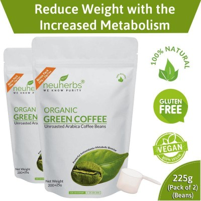 Neuherbs Organic Green Coffee beans for Weight Loss Management 200+25g Free (Pack of 2)(200)