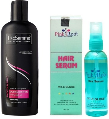 Pink Root Hair Serum (100ml) and TRESemme Smooth & Shine Salon Silk Moisture Shampoo(Set of 2)