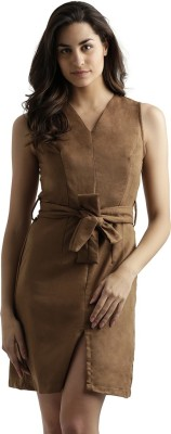 Miss Chase Women Sheath Brown Dress