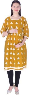 MomToBe Women's Geometric Print A-line Kurta(Yellow, White)