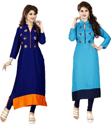 BOSQUE Casual Solid, Embellished Women Kurti(Pack of 2, Multicolor)