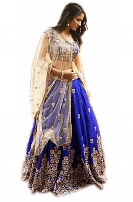 Pranitha Self Design Semi Stitched Lehenga, Choli and Dupatta Set(Blue)