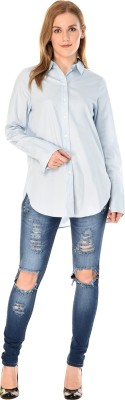 MansiCollections Women's Solid Formal Button Down Shirt