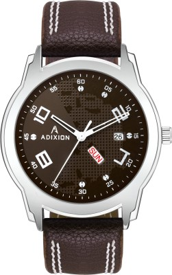 ADIXION 9530SL05 New Leather Strep day & date Stainless Steel Youth Watch Analog Watch  - For Men