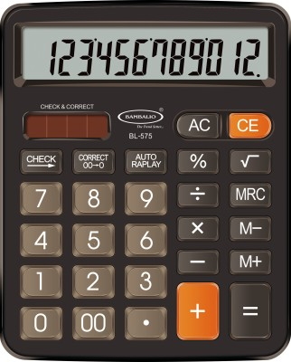 Bambalio bl-575 12 Digits Electronic Calculator With Diamond Cut Big Keys BL-575 Basic  Calculator(12 Digit)