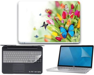 Gallery 83 ® butterfly wallpaper 3 in 1 combo pack with laptop skin sticker decal, key guard, Screen protector all are laptop 15.6 inch Combo Set 3433 vinyl Laptop Decal 15.6 Combo Set