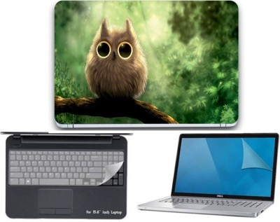 Gallery 83 ® owl art wallpaper 3 in 1 combo pack with laptop skin sticker decal, key guard, Screen protector all are laptop 15.6 inch Combo Set 3449 vinyl Laptop Decal 15.6 Combo Set