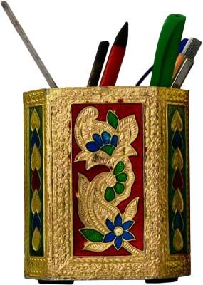 Purpledip 1 Compartments Brass Pen Holder(Golden)