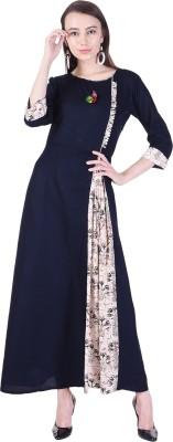 Indiwest Women's A-line Blue Dress