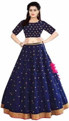 zinariya fab Embroidered Stitched Lehenga Choli(Blue)