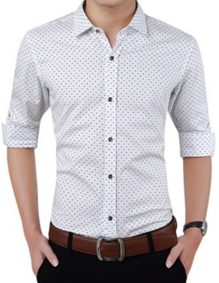 manu b Men & Women Polka Print Casual Button Down Shirt
