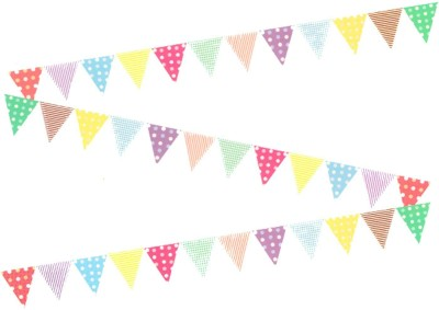 AMFIN Party Flags Banner for Birthday Decoration, Party Flags Decoration for Weddings, Engagement, Baby Shower Decoration Material, 1st Birthday, Anniversary Decoration Items, Bachelors Party, Office Party, Christmas & New Year Celebration (Doted) Banner(3 ft, Pack of 1)