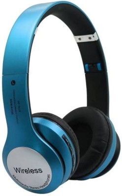 Liddu High Quality Stereo Sound Wireless Bluetooth B-20-Blue Bluetooth, Wired Headset with Mic(Blue, Over the Ear)