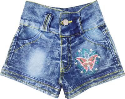 Harshvardhanmart Short For Girls Party Solid Denim(Blue, Pack of 1)