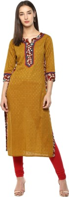 Prakhya Women Printed Straight Kurta(Yellow)