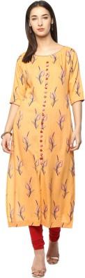 Prakhya Women Printed Straight Kurta(Orange)