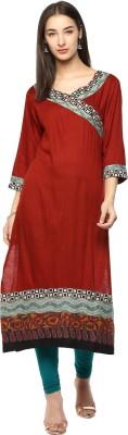 Prakhya Women Printed Straight Kurta(Red)