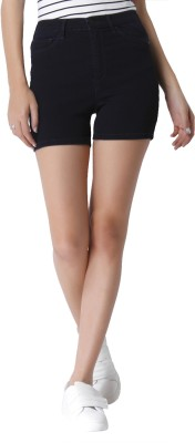 Only Solid Women Dark Blue Regular Shorts at flipkart