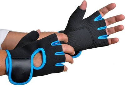 DreamPalace India Gym Gloves With Long Wrist Support | Gym glove | Fitness Gloves | Sport Gloves | Wrist Support | Glove for Men | Gloves for Women Gym & Fitness Gloves (Free Size, Blue)
