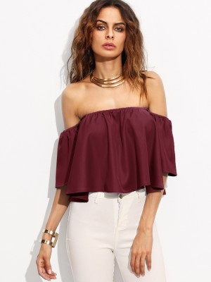 Marzeni Party Bell Sleeve Solid Women Maroon Top Marzeni Women's Tops