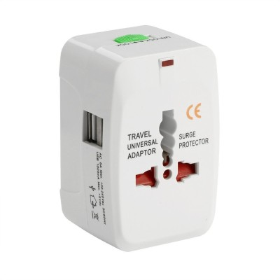 Axel Universal Travel Adapter With Built In Dual USB Charger Ports With Surge Protected Electrical Plug Worldwide Adaptor(White) at flipkart