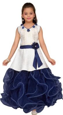 Aarika Girls Maxi/Full Length Party Dress(Blue, Sleeveless)