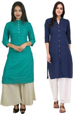 Flavia Creation Casual Solid, Self Design Women Kurti(Pack of 2, Blue, Green)