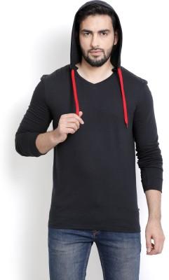 Billion PerfectFit Solid Men Hooded Black T-Shirt