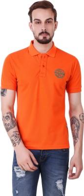 Club York Solid Men Polo Neck Orange T-Shirt