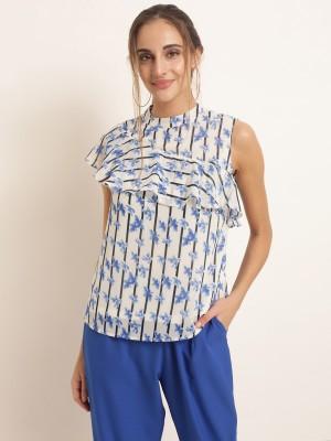 Rare Casual Sleeveless Printed Women White Top