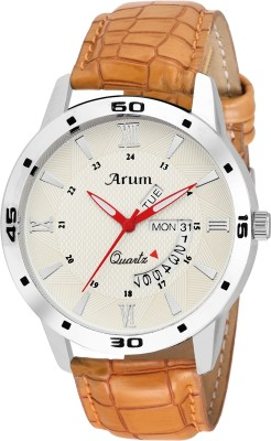 Arum ASMW-036 White Round Day and Date Dial Brown Leather Strap Analog Watch Watch  - For Men