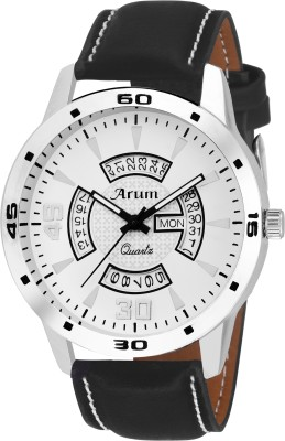 Arum ASMW-038 Black Round Day and Date Dial Black Leather Strap Analog Watch Watch  - For Men