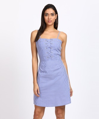 People Women's Fit and Flare Blue Dress