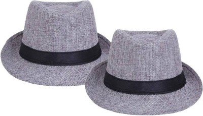 Tahiro Grey Plain Fedora Hat(Grey, Pack of 2)