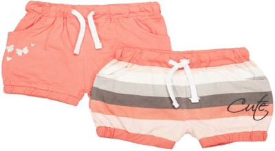 MeeMee Short For Girls Casual Striped Cotton Blend(Multicolor, Pack of 2)
