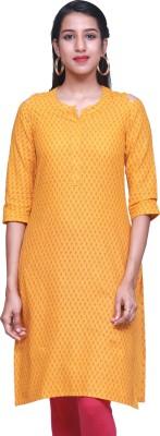 Estyle Women Solid Straight Kurta(Yellow)
