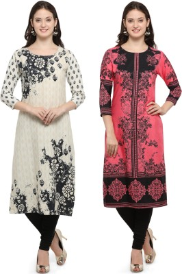 Envy9 Casual Floral Print Women Kurti(Pack of 2, Multicolor)