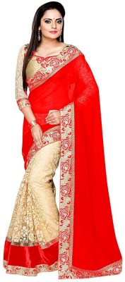 Fabcartz Embroidered Bollywood Georgette, Net Saree(Red)