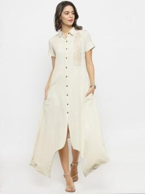 Jaipur Kurti Women A-line White Dress