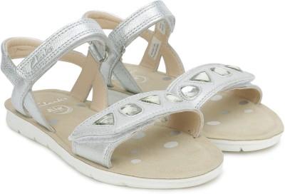 0c5e3e9d2d0 45% OFF on Clarks Girls Velcro Strappy Sandals(Silver) on Flipkart ...