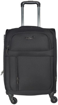 Traworld Earth 1004 24 inch 4Wheel Trolley Bag   Black Expandable Check in Luggage   24 inch Traworld Suitcases