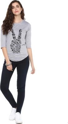 Young Trendz Graphic Print Women Round Neck Grey T-Shirt