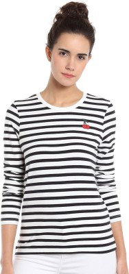 Allen Solly Casual Full Sleeve Striped Women White Top