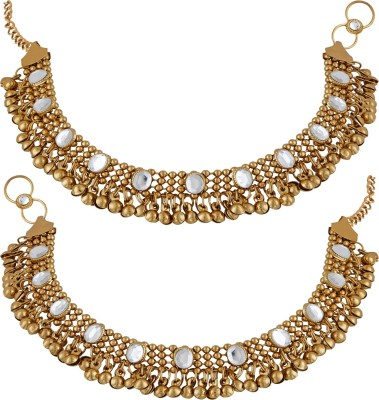 Meenaz Meenaz Traditional Jewellery Gold Oxodised Chain Payal Anklets for Women/Anklet for Girls Stylish Party wear Necklace Jewellery Set for women girls- Anklet-105 Copper, Brass Anklet(Pack of 2)